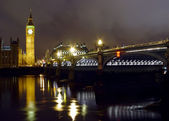 Big Ben and Westminster bridge at night — Stock Photo