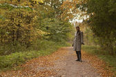 Lady in autumn — Stock Photo