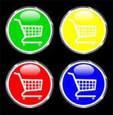 Shopping-cart web button — Stock Vector
