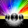 Stock Vector: Discotheque banner template with rainbow