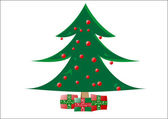 Decorative christmas tree with gifts — Stock Vector