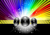 Discotheque banner template with rainbow — Stock Vector
