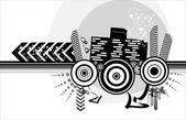 Halftone urban design — Stock Vector