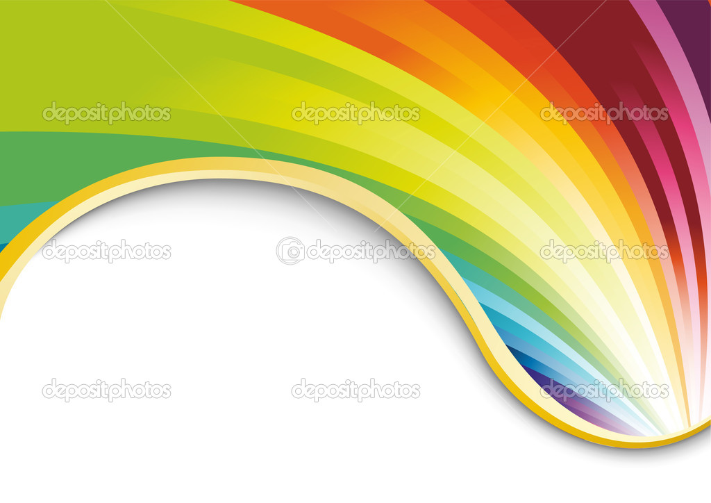 Rainbow card with golden ribbon. Vector illustration  Vektorgrafik #1584019