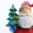 Santa with fur-tree — Stock Photo