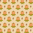 Acorn and pumpkin pattern — Stock Photo