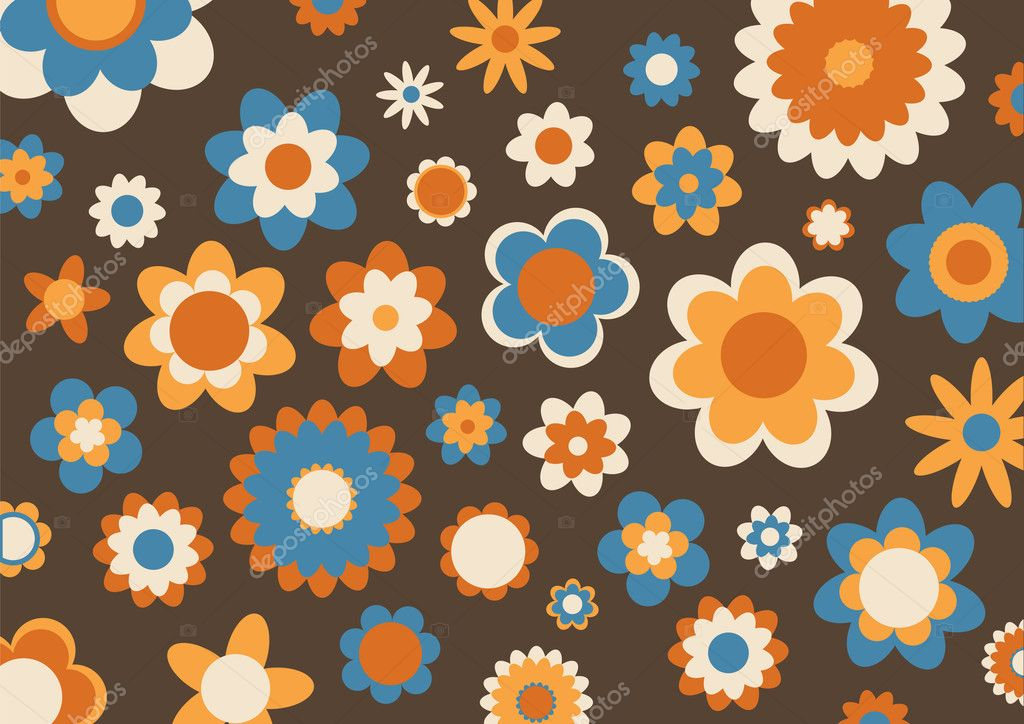 Illustration of multicolored funky flowers abstract pattern on brown background — Stock Photo #1099051