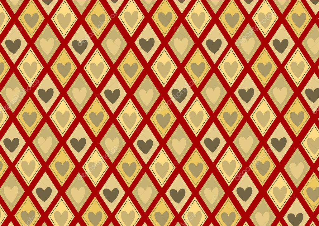Illustration of retro rhombs with heart pattern on the red background — Stock Photo #1099405