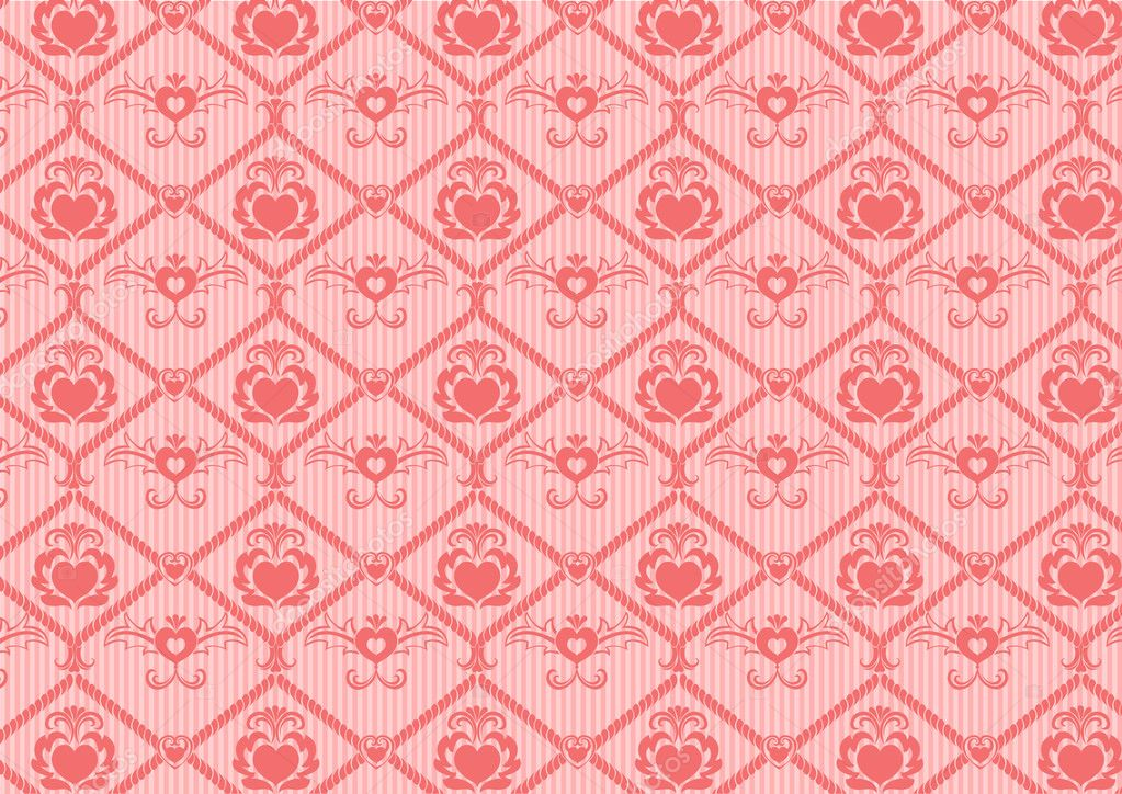 Illustration of heart retro abstract pattern on the pink background.  Stock Photo #1099786