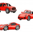 Funny red cars — Stock Photo