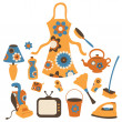 Housewife accessories icon set - Stock Photo