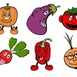 Funny vegetable icons set - Stock Photo