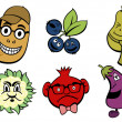 Fruits and vegetable icons set - Stock Photo