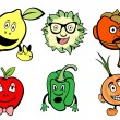 Cute fruits and vegetable icons set - Stock Photo
