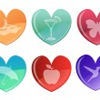 Beautifull hearts icon set — Stock Photo