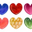 Beautifull hearts with fruit patterns — Stockfoto
