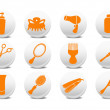 Buttons set for hairdressing salo - Stock Photo