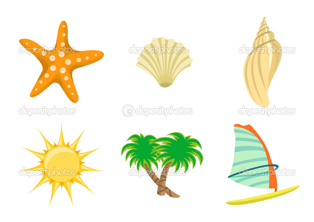 Illustration of summer icons. Includes sun, starfish, sea shelld, palm tree and yacht  Stock Photo #1100545