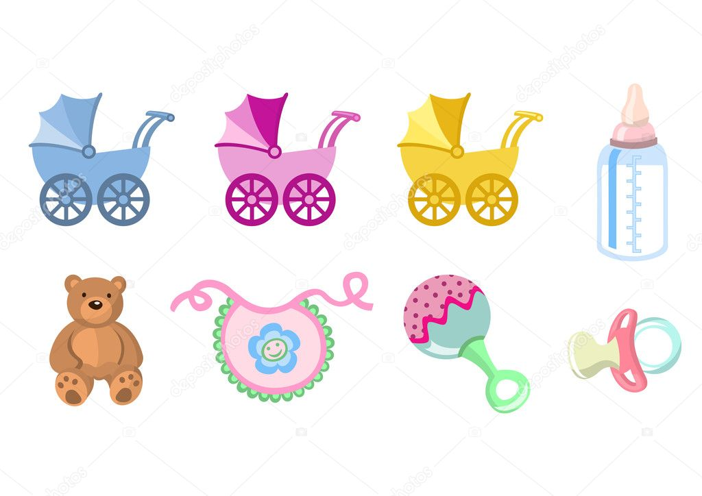 baby icons. Includes carriage, bottle, teddy bear, bib, pacifier and rattle. — Stock Photo #1100563