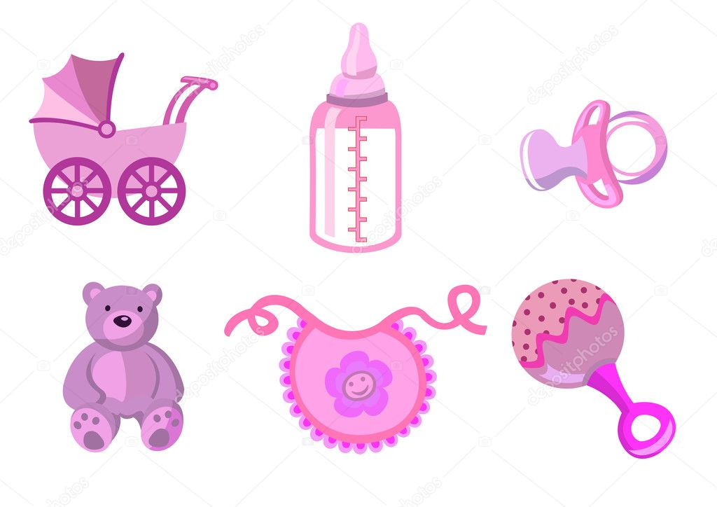 Illustration of baby icons. Includes carriage, bottle, teddy bear, bib, pacifier and rattle. — Stock Photo #1100574