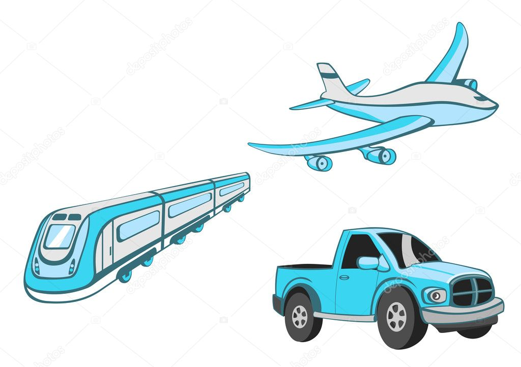 Illustration of  Transport Cartoon  . Set of  Funny   blue  car, train and airplane. — Stock Photo #1100914