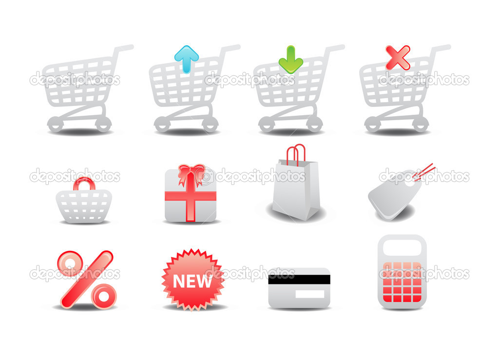 Illustration of shopping icons. Suitable for e-commerce, webshop and other network sales.  Stock Photo #1101473