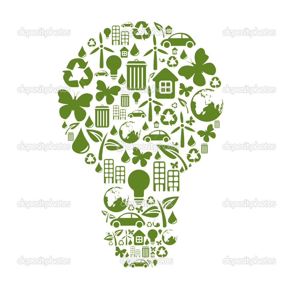 Illustration of bulb shape, made from different ecological items.  Stock Photo #1102058