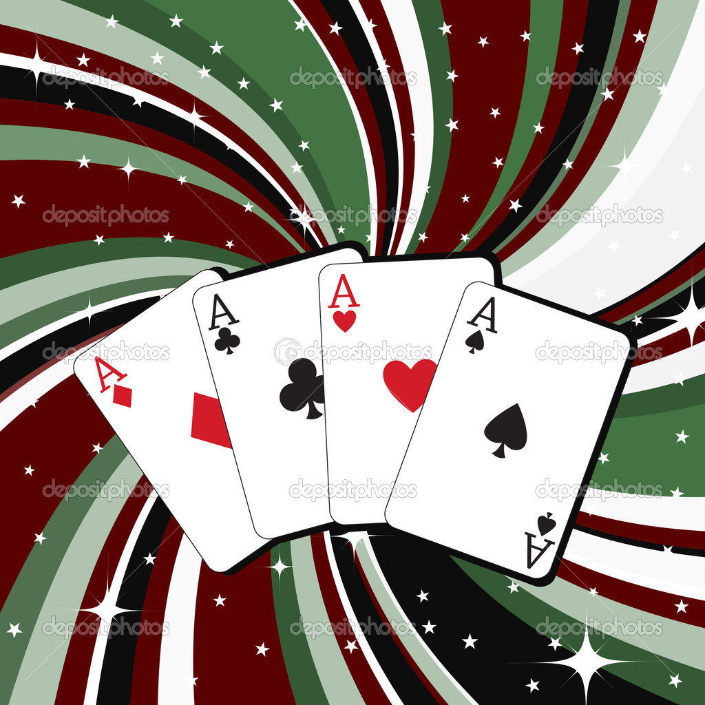 Illustration of gambling cards set on the beautifull background, decorated with stars and waves. — Stock Photo #1102545