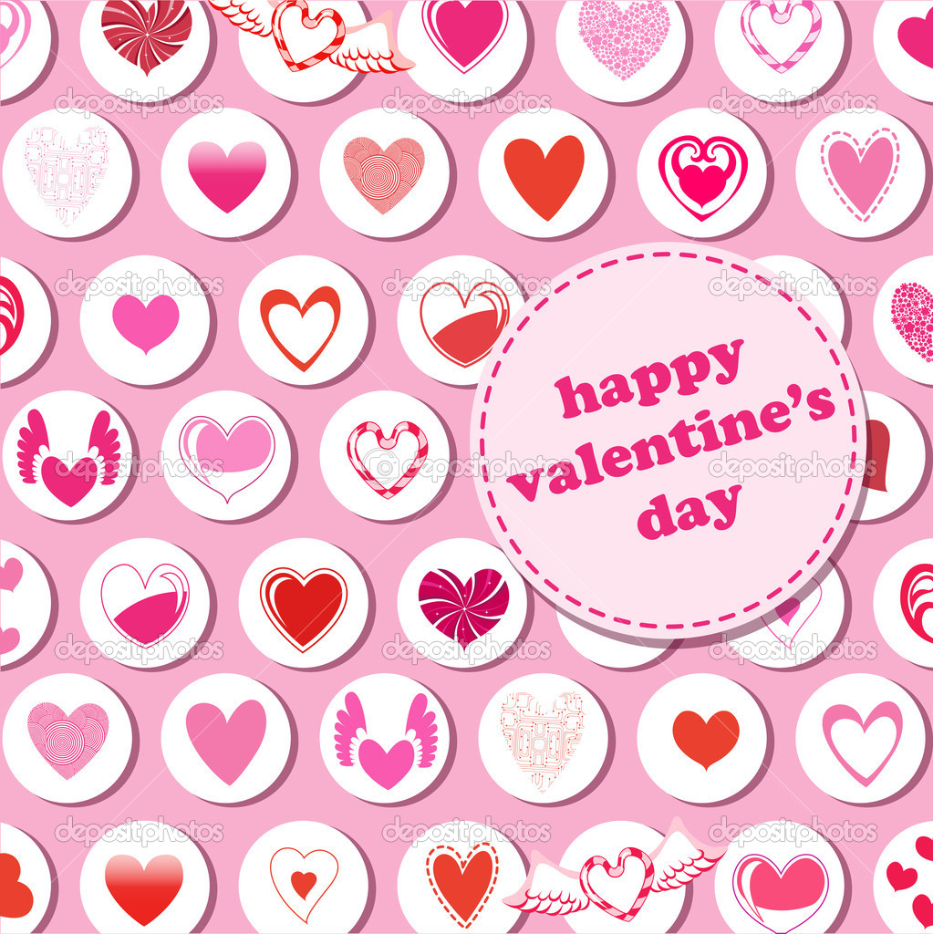 Illustration of Valentine's Day pattern, decorated with different kinds of heart. — Stock Photo #1103322