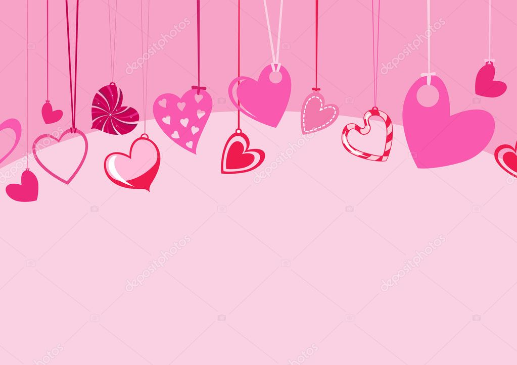 Illustration of Valentine's Day background, decorated with beautifull hearts.   #1104107