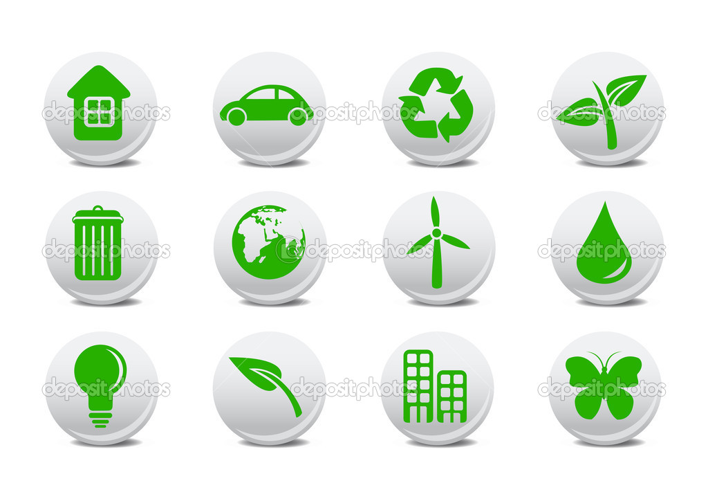 Illustration of ecological icons .You can use it for your website, application or presentation  Foto de Stock   #1104812