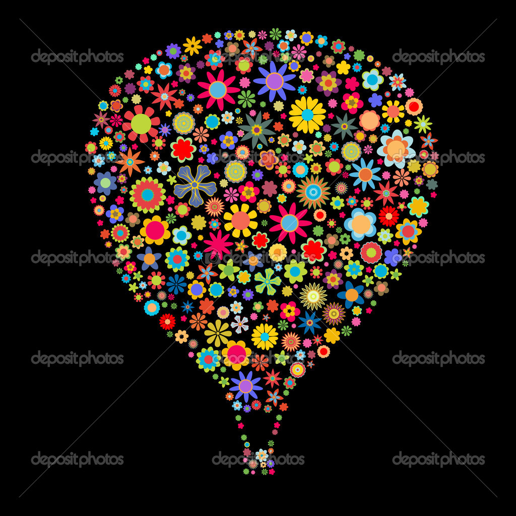 Illustration of Hot Air Balloon shape made up a lot of  multicolored small flowers on the black background — Stock Photo #1106523