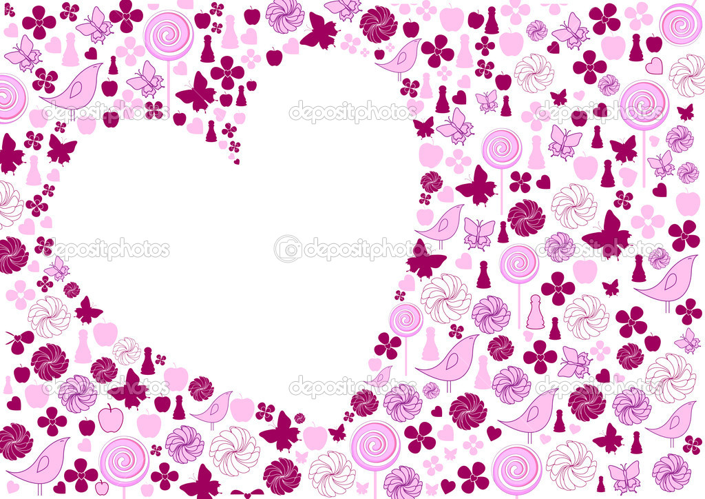 Illustration of Valentine card, inlcudes heart silhouette and different objects (flowers, butterfly, candy, apple and etc.) arround it. — Stock Photo #1116836