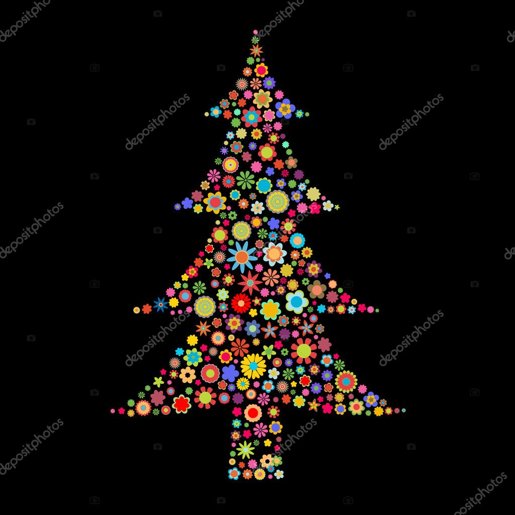 Illustration Christmas tree shape  made up a lot of  multicolored small flowers on the black background — Stock Photo #1116986