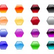 Hexagon shape buttons — Stock Photo
