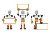 Robots con cartel — Foto de Stock
