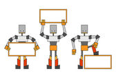 Robots met plakkaat — Stockfoto