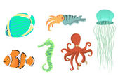Sea animals icons — Stock Photo