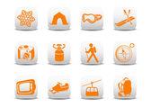 Camping/ski icons — Stock Photo