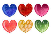 Beautifull hearts with fruit patterns — Stock Photo