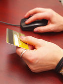 Female hands hold a credit card and the — Stock Photo