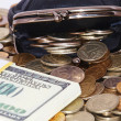 Stock Photo: Purse with coins and dollars