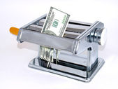 The machine tool for noodles and dollar — Stock Photo