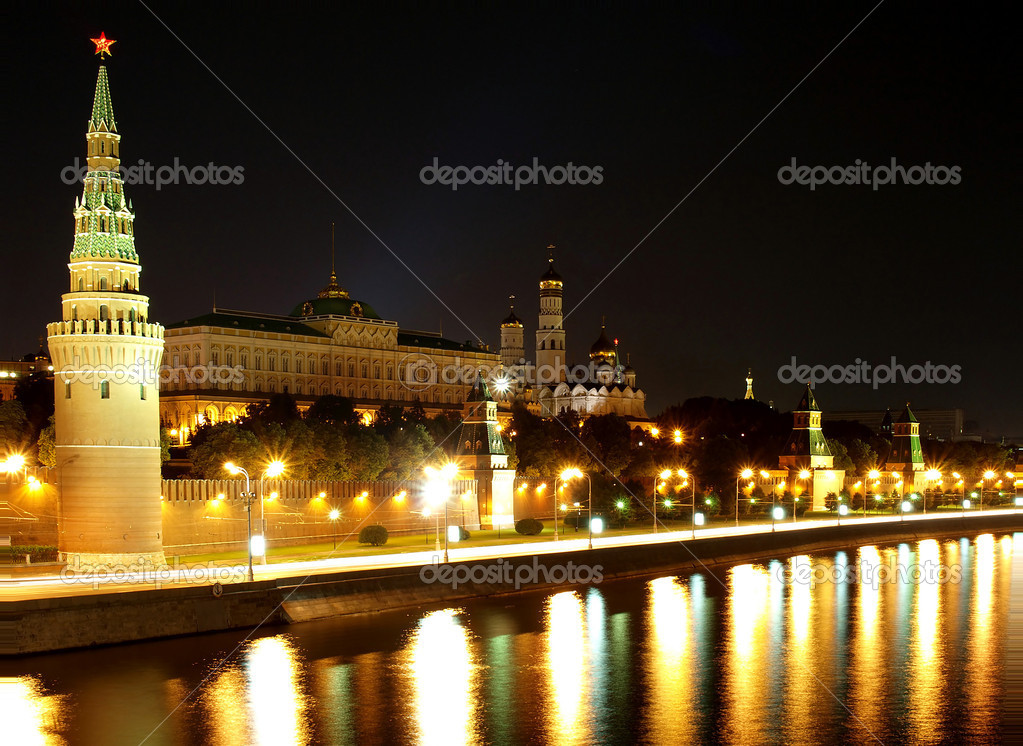 The Kremlin quay at night. A kind from the Big stone bridge  Stock Photo #1278604