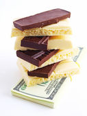 Pile of white and black chocolate — Stock Photo