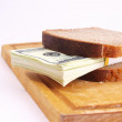 Monetary sandwich on a white background — Stock Photo