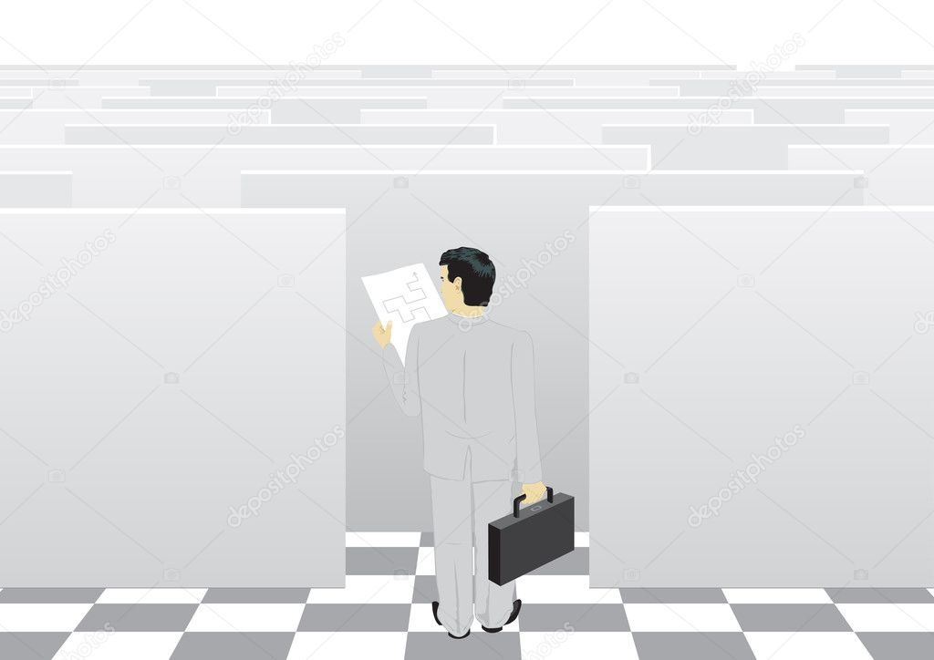 The businessman passes through a labyrinth to success — Stock Vector #1258467