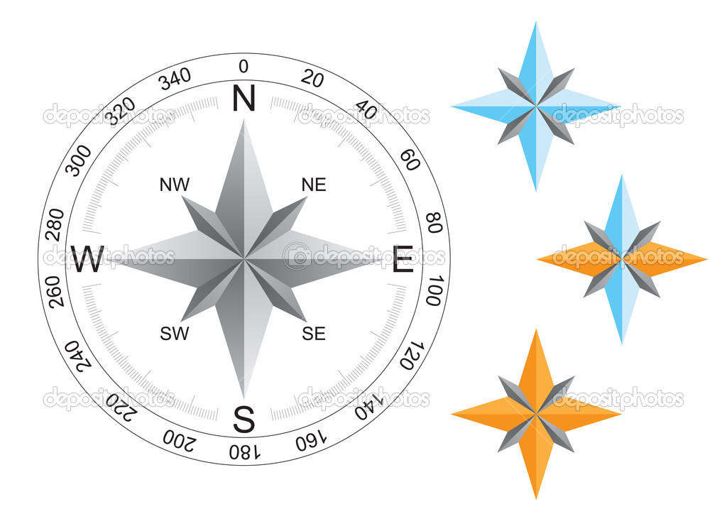 World compass directions for map on the white background — Stock Vector #1267119
