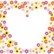 Flowers heart background — Image vectorielle