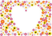 Flowers heart background — Vettoriale Stock